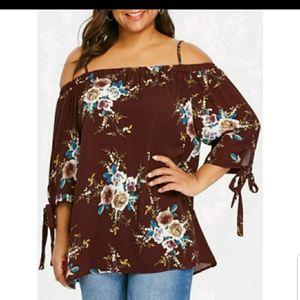 Rosegal 3X floral cold shoulder blouse